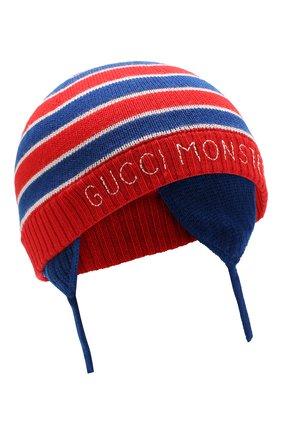 Детского шерстяная шапка GUCCI синего цвета, арт. 522791/3K206 | Фото 1