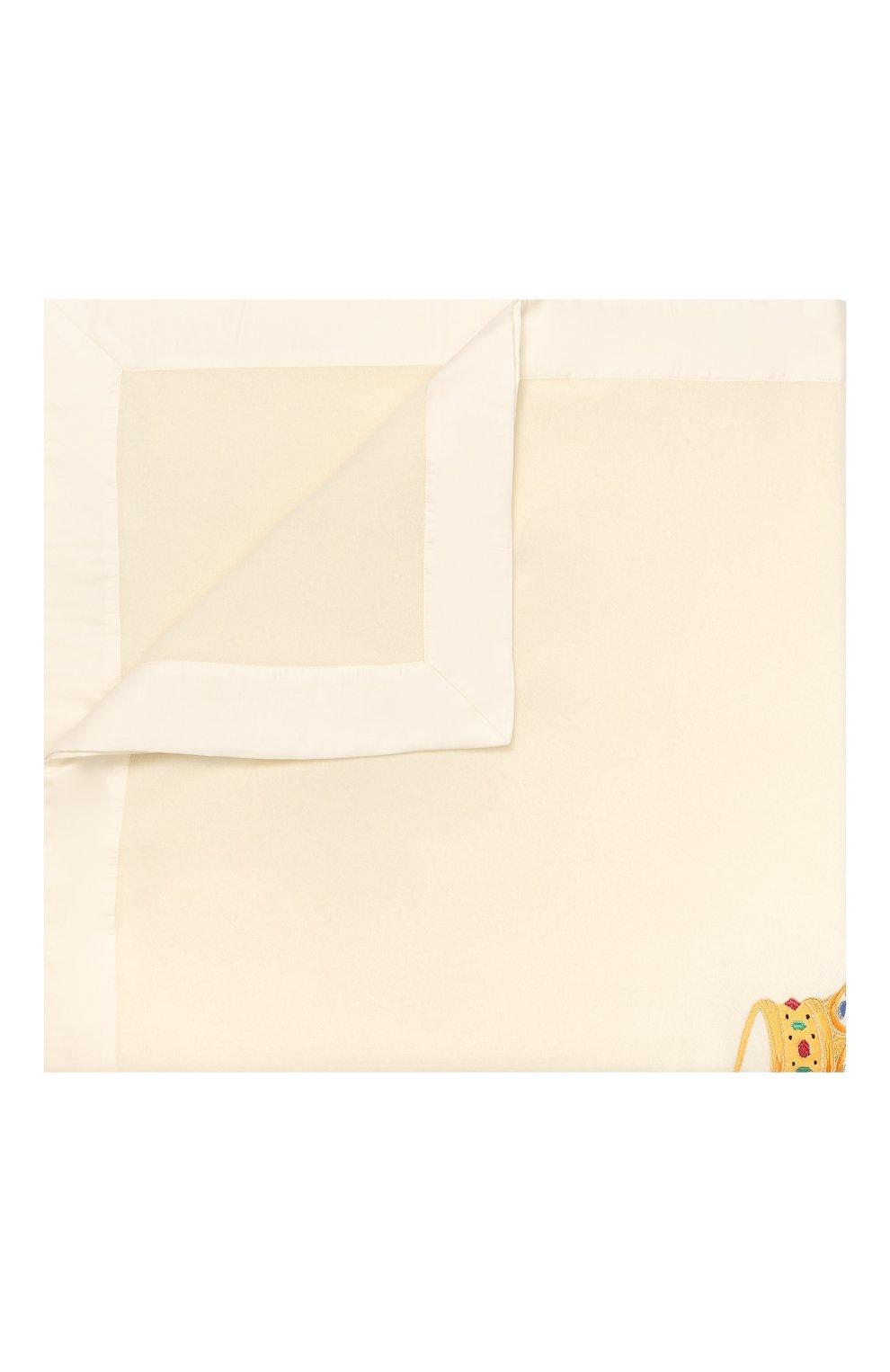 Детского шерстяное одеяло LORETTA CAPONI белого цвета, арт. 182K13188302002   Фото 1 (Материал: Шерсть; Статус проверки: Проверено, Проверена категория)