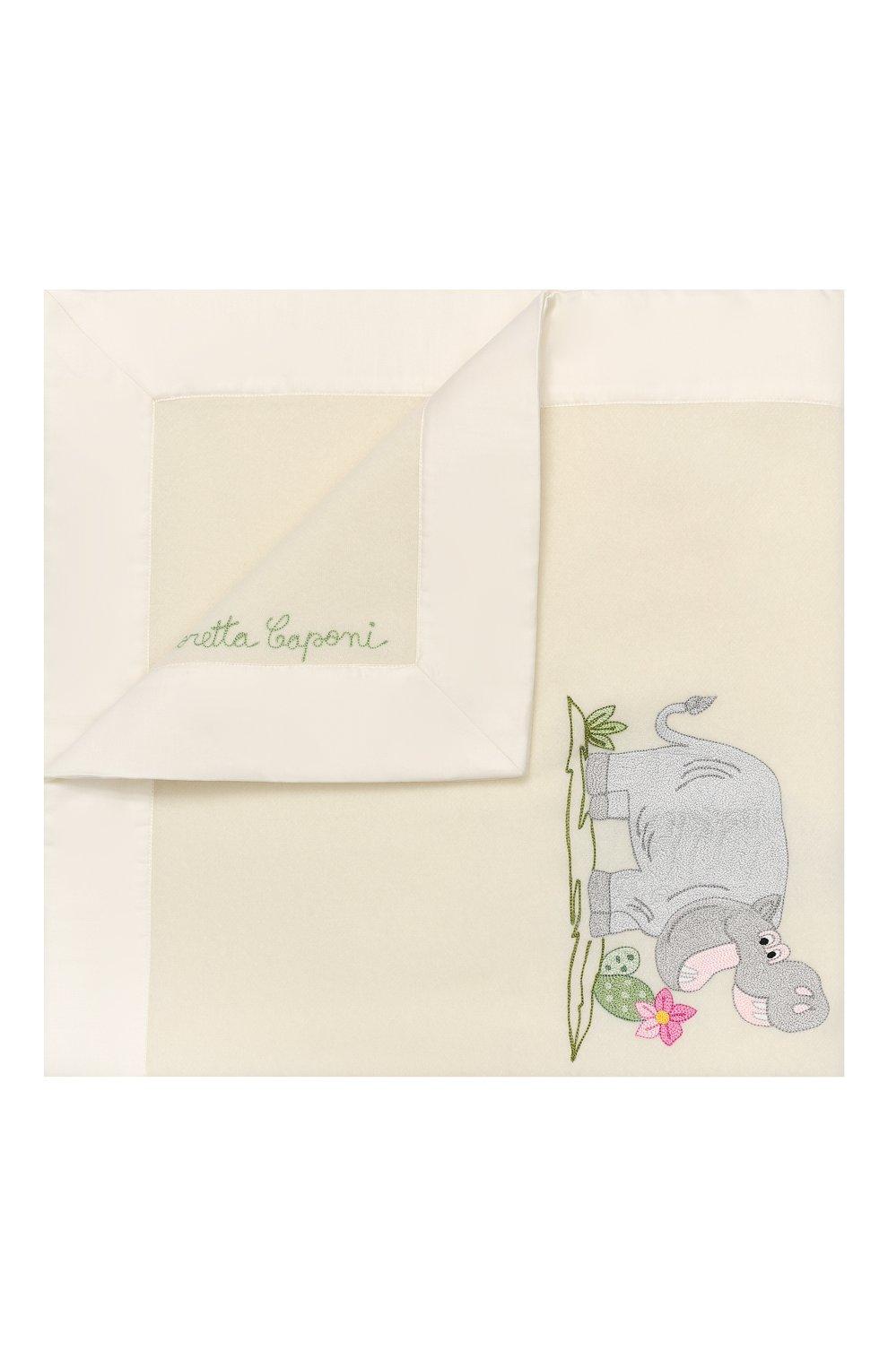 Детского шерстяное одеяло LORETTA CAPONI белого цвета, арт. 182K13308302002.GREY   Фото 1