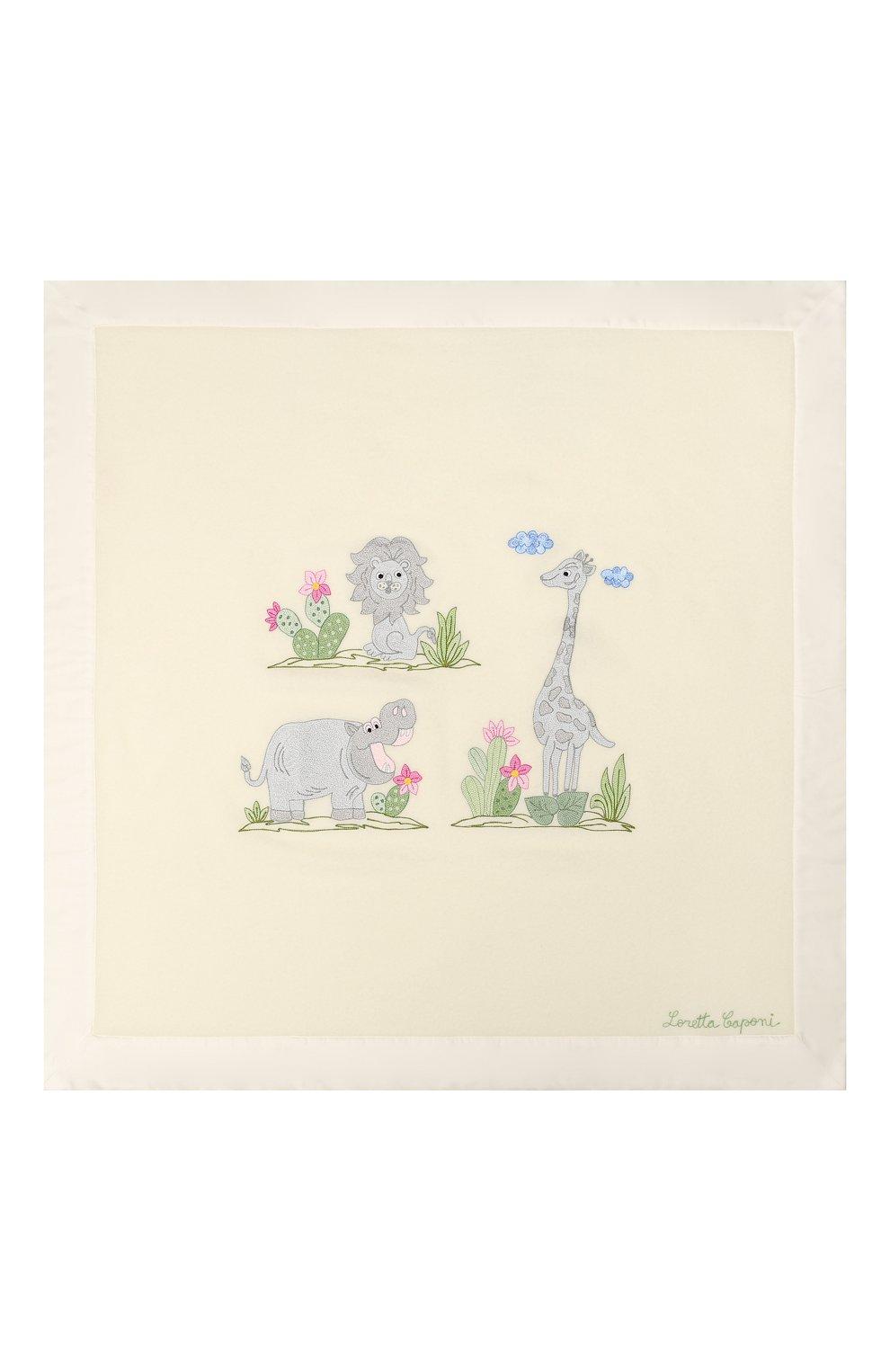 Детского шерстяное одеяло LORETTA CAPONI белого цвета, арт. 182K13308302002.GREY   Фото 2