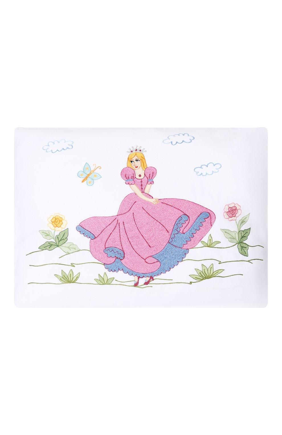 Детского подушка с вышивкой LORETTA CAPONI белого цвета, арт. 182K15198301701   Фото 1