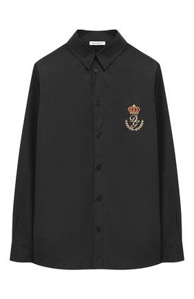 Детская хлопковая рубашка с воротником кент DOLCE & GABBANA темно-синего цвета, арт. L42S72/FU5GK/2-6 | Фото 1