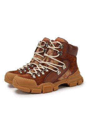 Женские кожаные кроссовки flashtrek gg на шнуровке GUCCI темно-бежевого цвета, арт. 522989/0P310 | Фото 1