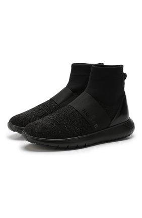 Высокие текстильные кроссовки с люрексом Hogan черные   Фото №1