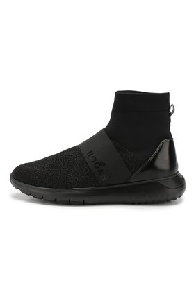 Высокие текстильные кроссовки с люрексом Hogan черные   Фото №3