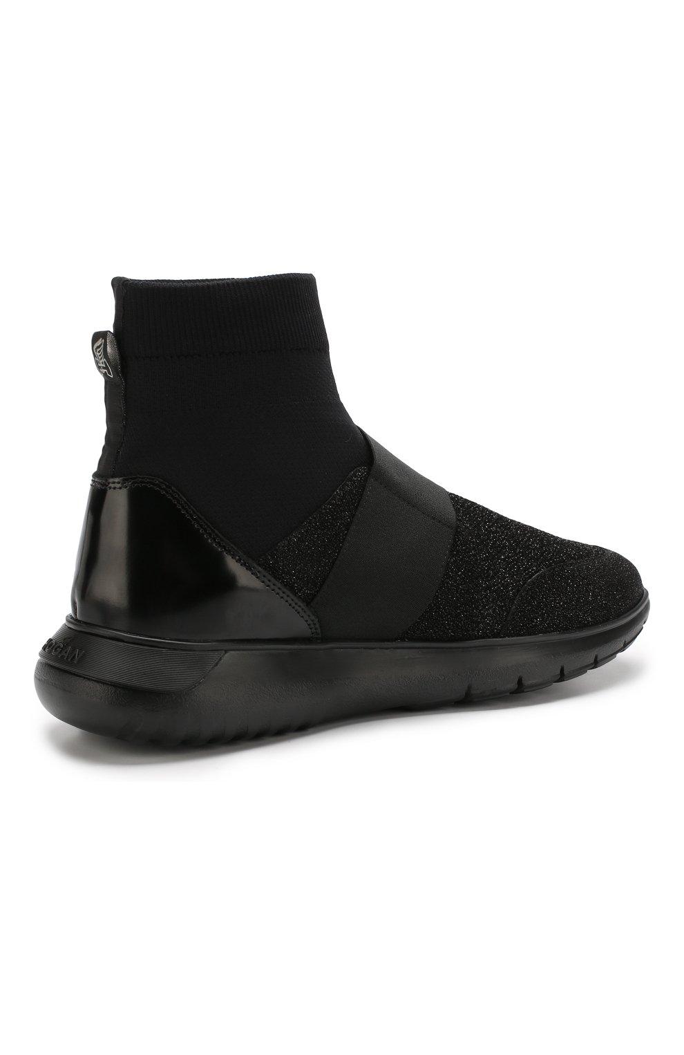 Высокие текстильные кроссовки с люрексом Hogan черные   Фото №4