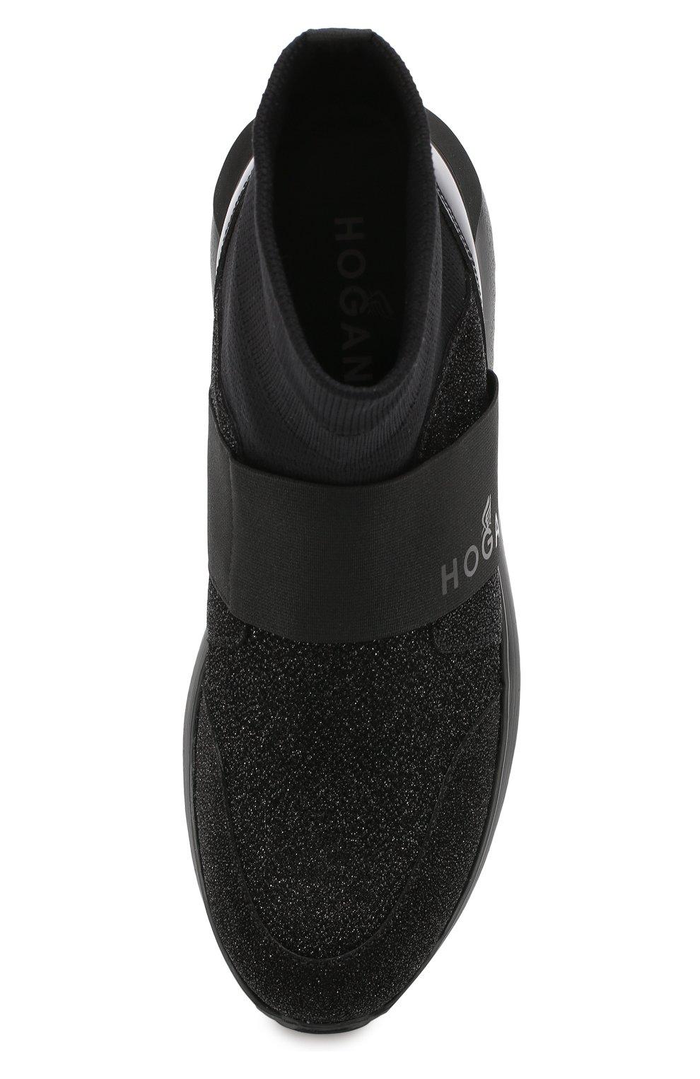 Высокие текстильные кроссовки с люрексом Hogan черные   Фото №5