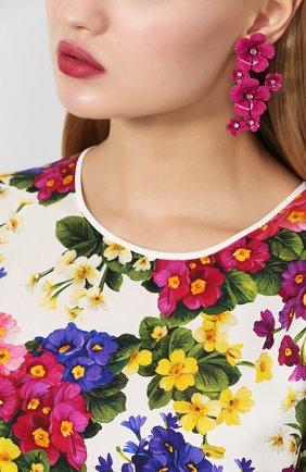 Женские серьги в виде цветов JENNIFER BEHR фуксия цвета, арт. 115RC13 | Фото 2