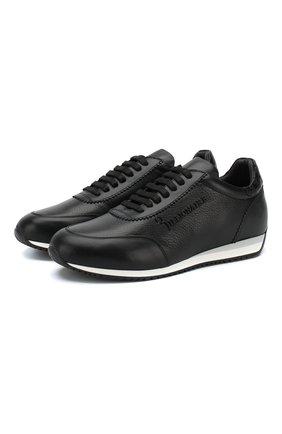 Кожаные кроссовки на шнуровке с отделкой из кожи аллигатора | Фото №1