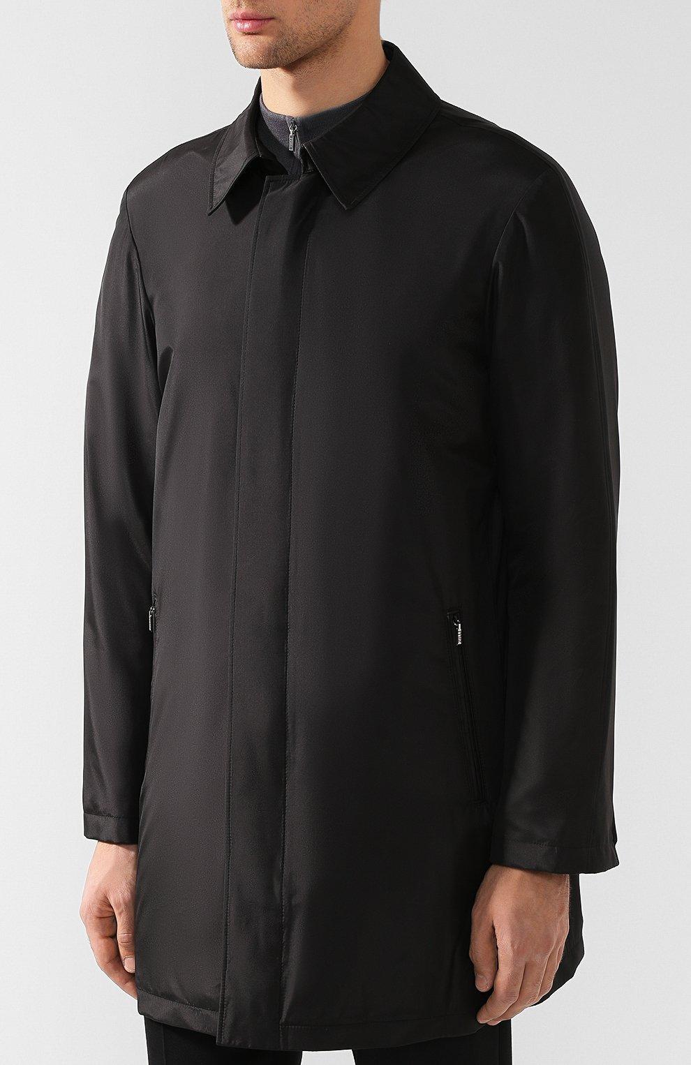 Мужской шелковый плащ на молнии прямого кроя ZILLI черного цвета, арт. MAQ-TIMBU-30036/0002 | Фото 3