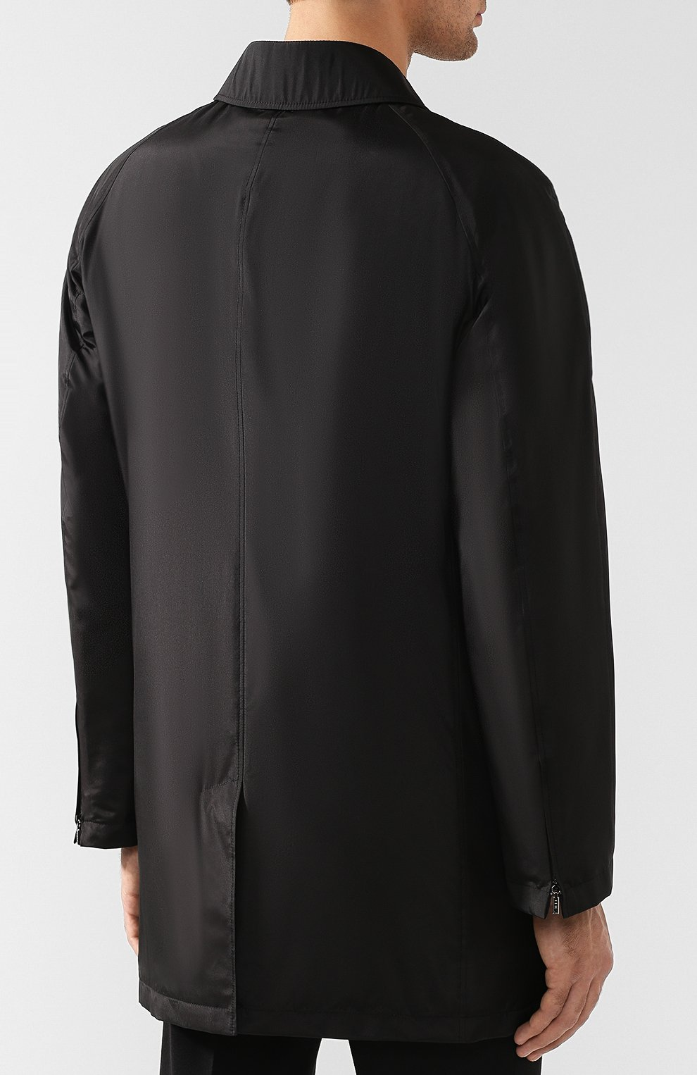 Мужской шелковый плащ на молнии прямого кроя ZILLI черного цвета, арт. MAQ-TIMBU-30036/0002 | Фото 4
