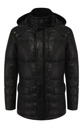 Пуховая кожаная куртка на молнии с капюшоном   Фото №1