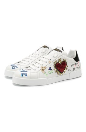 Кожаные кроссовки Portofino на шнуровке с декоративной отделкой   Фото №1