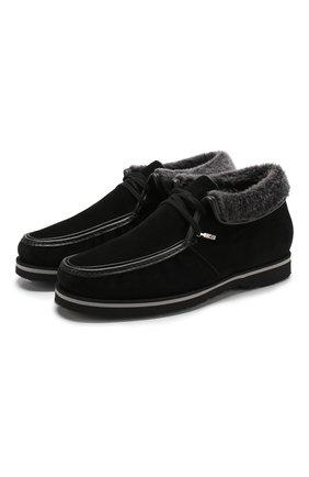Замшевые ботинки на шнуровке с внутренней меховой отделкой   Фото №1