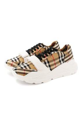 Мужские текстильные кроссовки BURBERRY бежевого цвета, арт. 4078689 | Фото 1