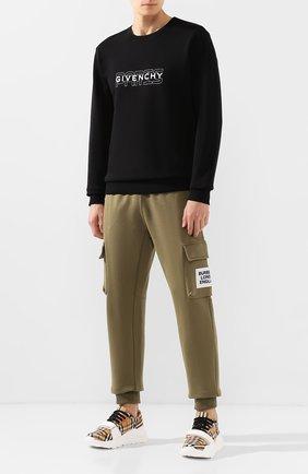 Мужские текстильные кроссовки BURBERRY бежевого цвета, арт. 4078689 | Фото 2