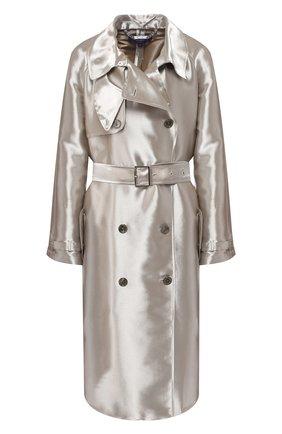 Двубортное пальто из смеси вискозы и шелка с поясом | Фото №1