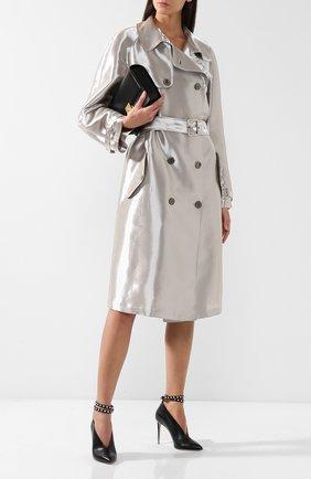 Женское двубортное пальто из смеси вискозы и шелка с поясом RALPH LAUREN серебряного цвета, арт. 290719525 | Фото 2