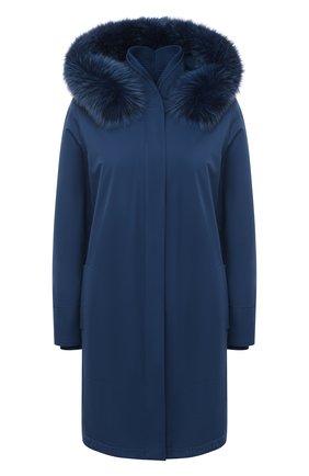 Женская однотонная куртка с меховой отделкой капюшона LORO PIANA синего цвета, арт. FAE5502 | Фото 1