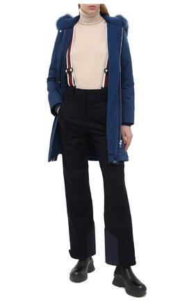 Женская однотонная куртка с меховой отделкой капюшона LORO PIANA синего цвета, арт. FAE5502 | Фото 2