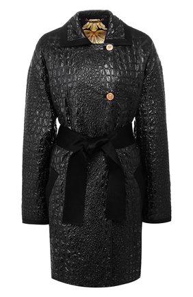 Пальто с поясом и контрастными пуговицами | Фото №1