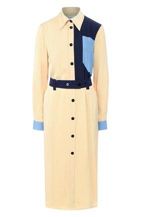 Платье-миди с поясом и карманами | Фото №1