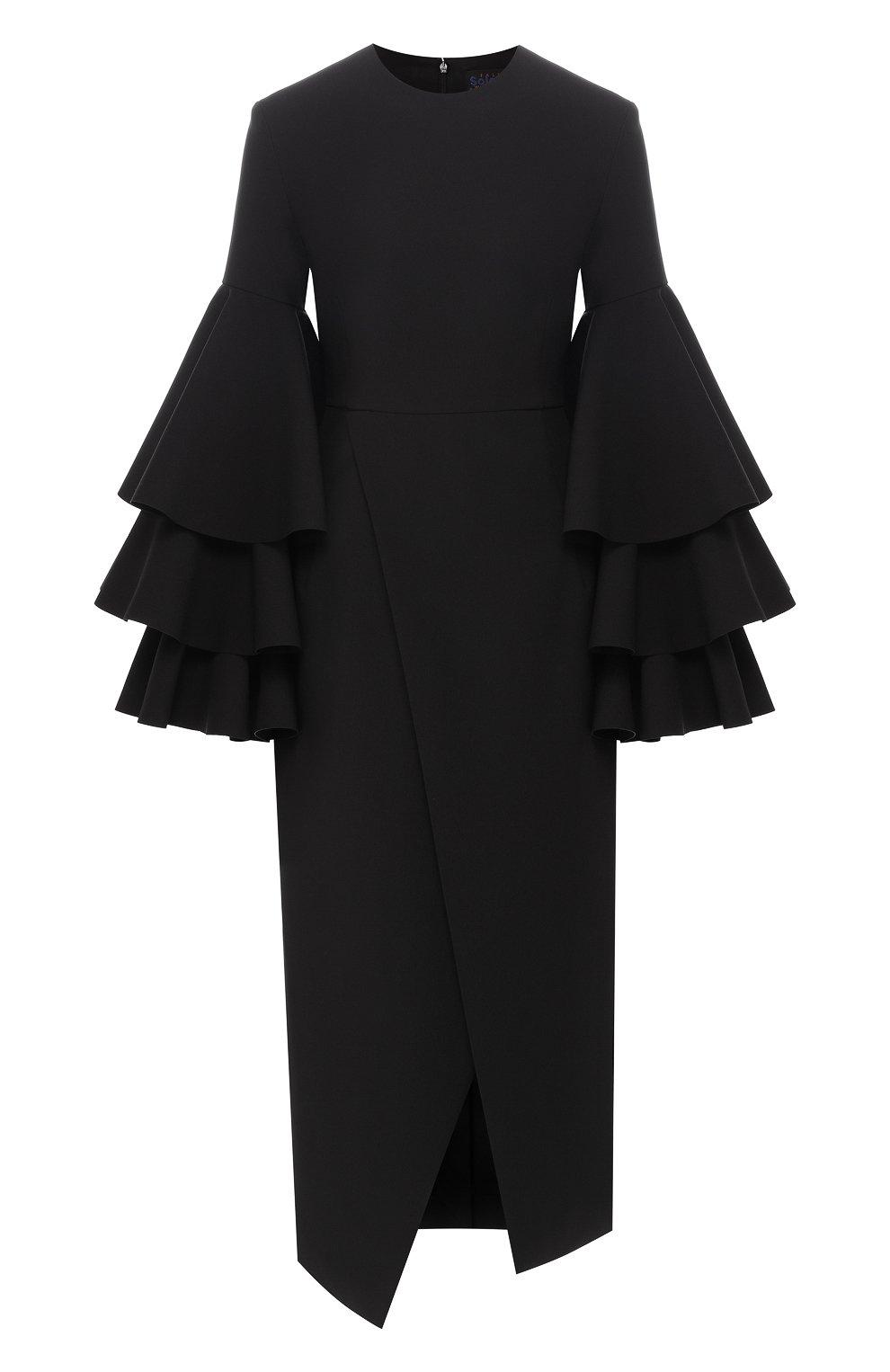 5db14a88f79 Женское черное однотонное платье-миди с объемными рукавами SOLACE ...