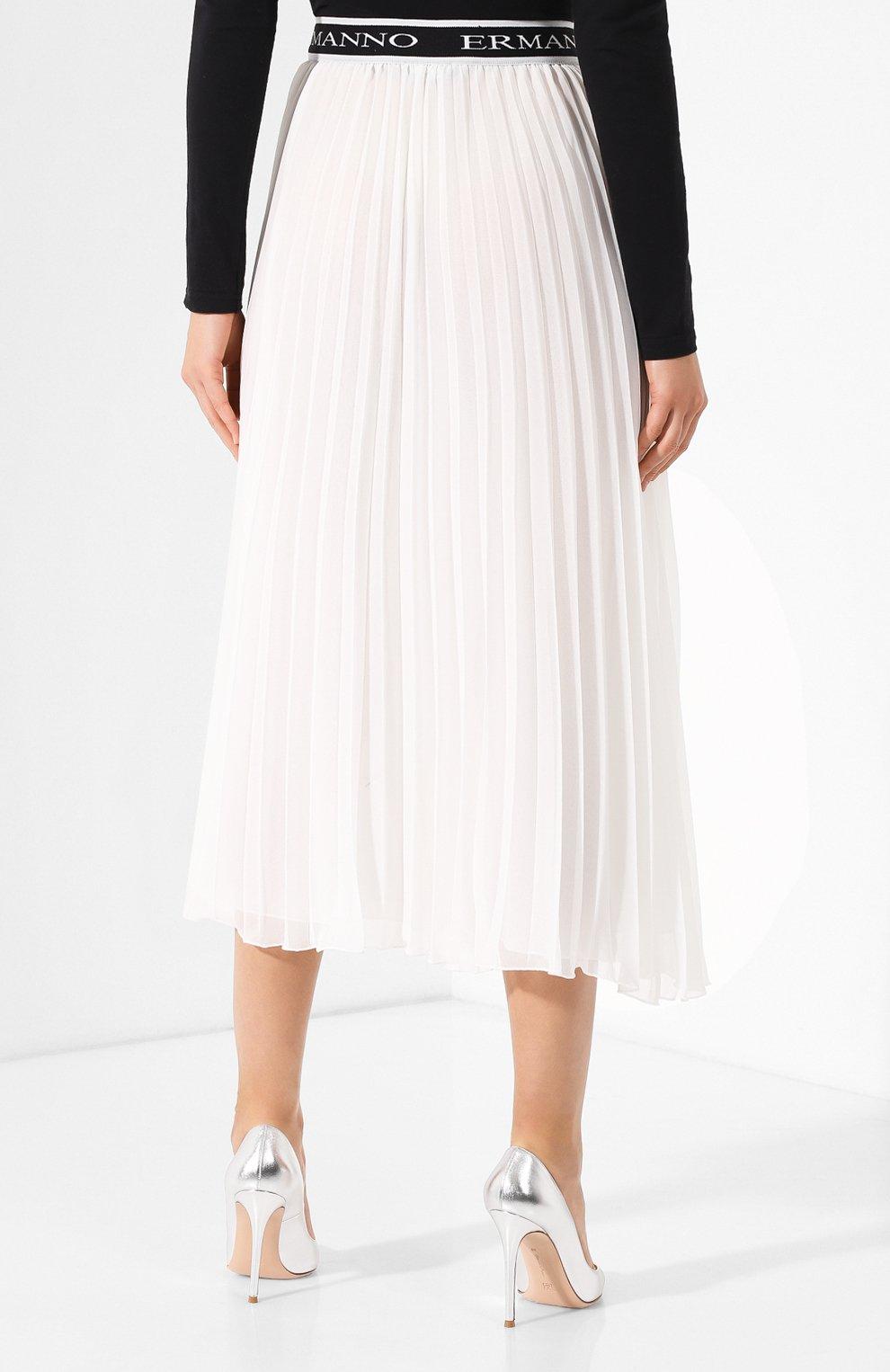 23de0ff19b0 Плиссированная юбка-миди с кружевной вставкой Ermanno Ermanno Scervino  белая