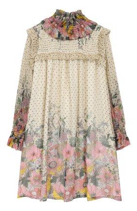 Шелковое мини-платье с воротником-стойкой | Фото №1