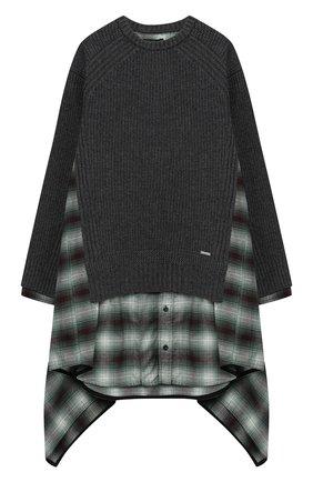 Комбинированное платье асимметричного кроя   Фото №1