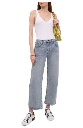Женские кожаные кеды portofino с отделкой DOLCE & GABBANA белого цвета, арт. CK1544/AZ138 | Фото 2