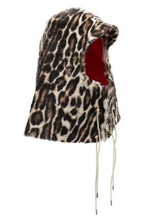 Кожаный капюшон с леопардовым принтом на завязках | Фото №1