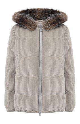 Вельветовая куртка с меховой отделкой капюшона | Фото №1