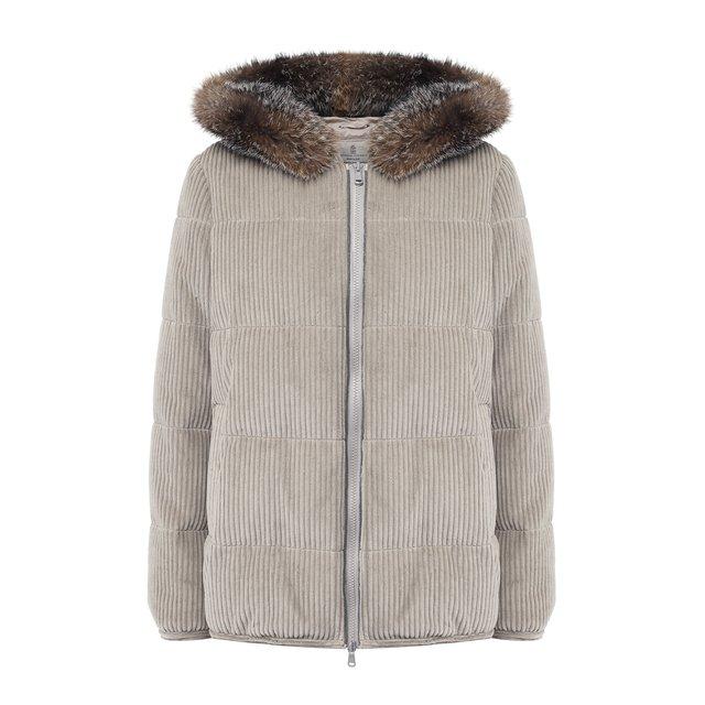 Вельветовая куртка с меховой отделкой капюшона Brunello Cucinelli