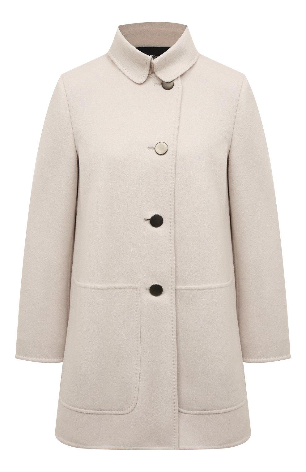 Однотонное пальто с накладными карманами | Фото №1