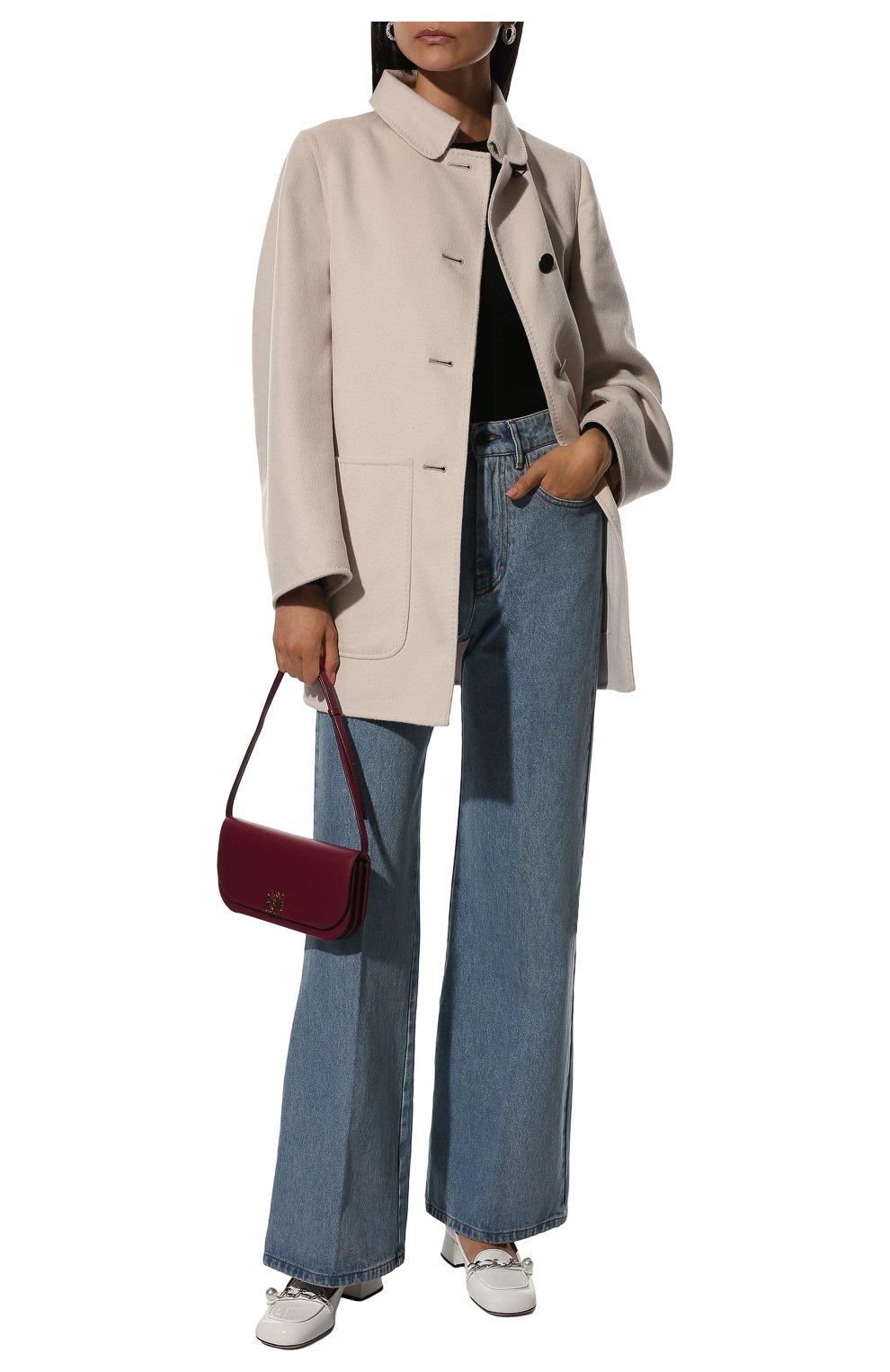 Однотонное пальто с накладными карманами | Фото №2
