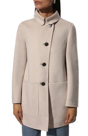 Однотонное пальто с накладными карманами | Фото №3