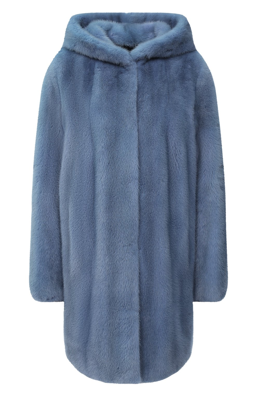 Шуба из меха норки с капюшоном Yves Salomon светло-голубая | Фото №1