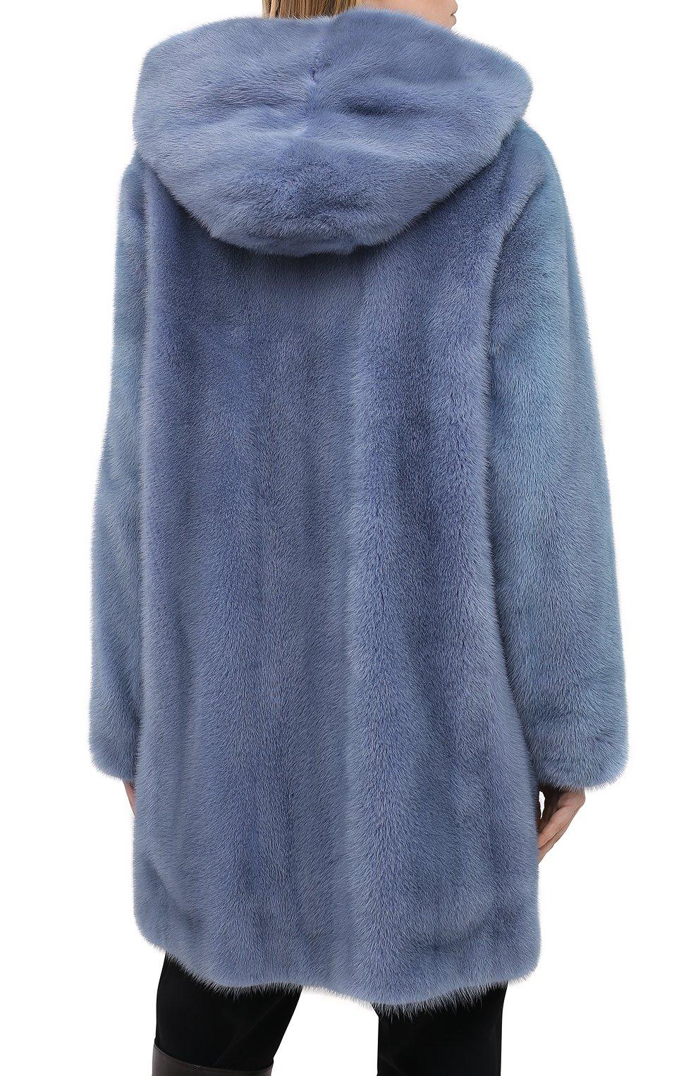 Шуба из меха норки с капюшоном Yves Salomon светло-голубая | Фото №4