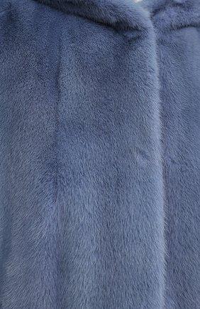 Шуба из меха норки с капюшоном Yves Salomon светло-голубая | Фото №5