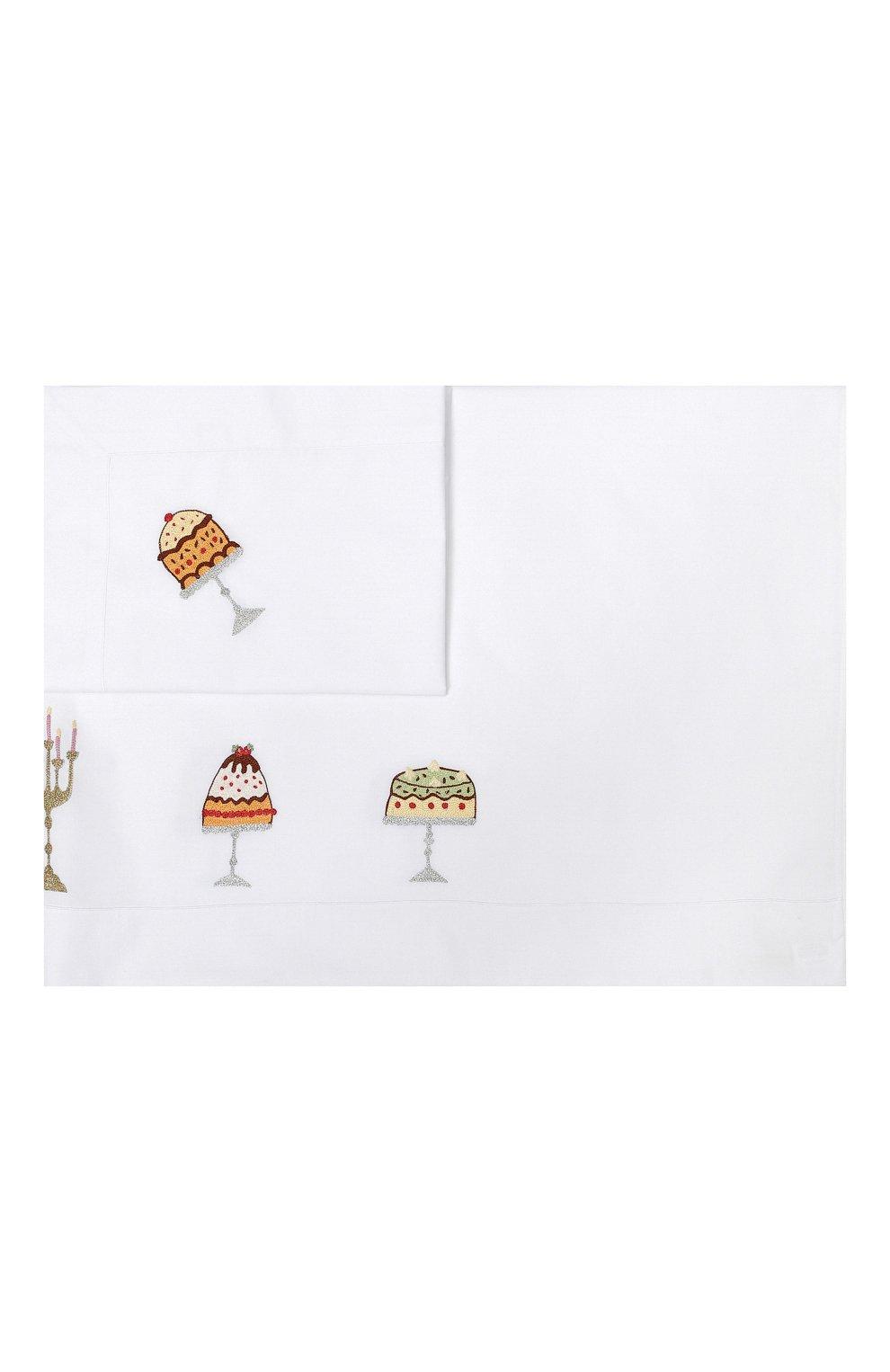 Детского хлопковый комплект из простыни и наволочки LORETTA CAPONI белого цвета, арт. 182K20218300701 | Фото 1