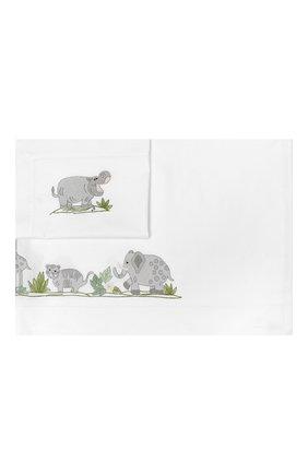 Детского хлопковый комплект из простыни и наволочки LORETTA CAPONI белого цвета, арт. 182K20278300701 | Фото 1