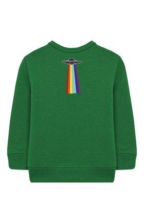 Детский хлопковый свитшот с принтом GUCCI зеленого цвета, арт. 522994/X9V10 | Фото 2