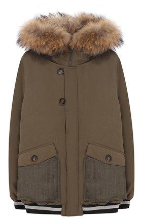 Шерстяная куртка с меховой отделкой на капюшоне   Фото №1