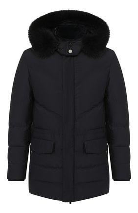 Утепленная куртка на молнии с меховой отделкой капюшона   Фото №1