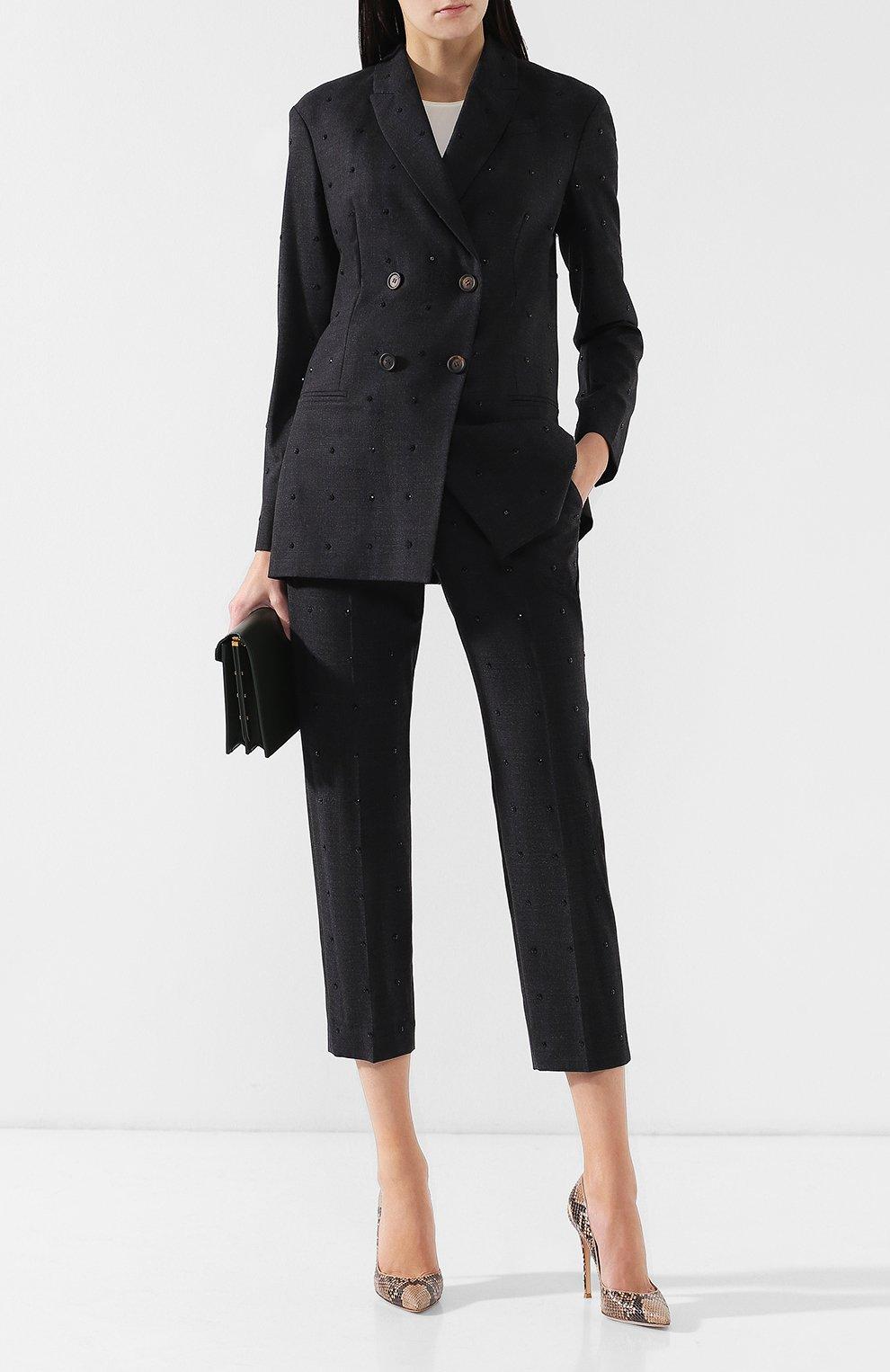 Женский шерстяной костюм с декоративной отделкой BRUNELLO CUCINELLI темно-серого цвета, арт. MA078T8416 | Фото 1