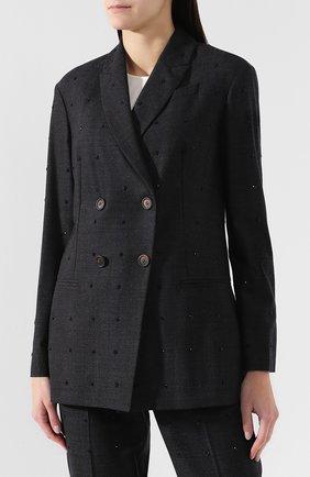 Женский шерстяной костюм с декоративной отделкой BRUNELLO CUCINELLI темно-серого цвета, арт. MA078T8416 | Фото 2