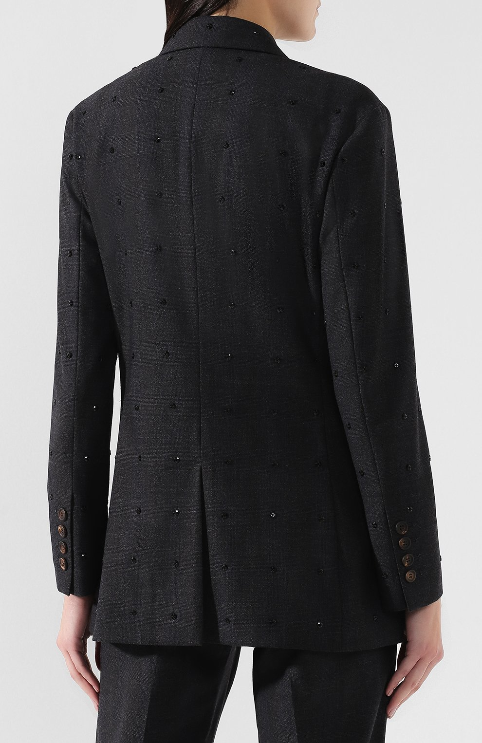 Женский шерстяной костюм с декоративной отделкой BRUNELLO CUCINELLI темно-серого цвета, арт. MA078T8416 | Фото 3