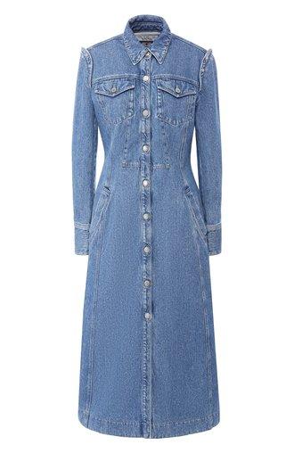 Джинсовое платье с потертостями