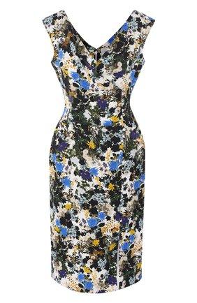 Платье с V-образным вырезом и принтом | Фото №1